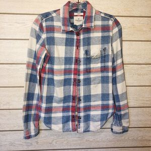American Eagle Destroyed Flannel Plaid Shirt - XS